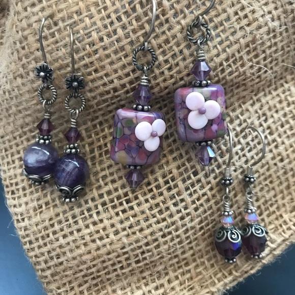 2b5590429 Jewelry | 3 Pairs Boutique Sterling Silver Purple Earrings | Poshmark